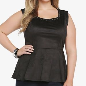 Torrid Studded Faux Suede Peplum Top
